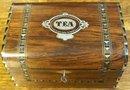 Victorian Rosewood English TEA Caddy Inlays of Silver, Abalone, & Ebony, 1860
