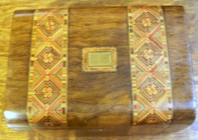 English 19th Century Burl Walnut Tunbridge Ware Inlaid Box, 1860