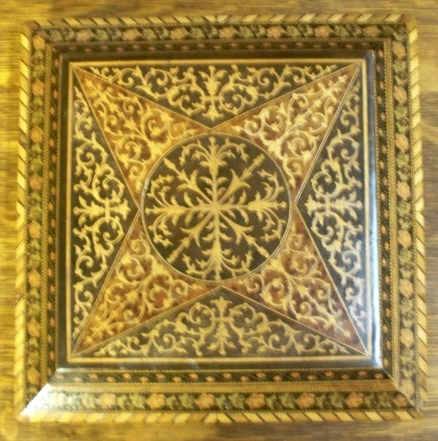 Antique English Jewel Box, Original Silk Tufted Interior, Mirror, 1880