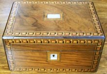 Antique Rosewood Inlaid Vanity Box With Tunbridge Ware & Mother Of Pearl Inlays,1870