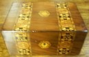 Antique Mahogany Box With Tunbridge Ware Banding Of Crusaders Crosses, 1870