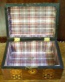 Antique Mahogany Box With Tunbridge Ware Banding Of Crusaders Crosses, 1870