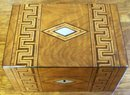 Antique English Walnut Jewel Box, Greek Key Inlays, 1880