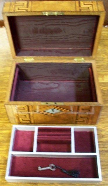 Antique English Walnut Jewel Box, Greek Key Inlays, 1880