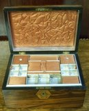 Victorian Rosewood Sewing Box With Lift Out Fitted Tray, 1870
