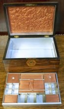 English Victorian Rosewood Box With Lift Out Fitted Tray, 1870