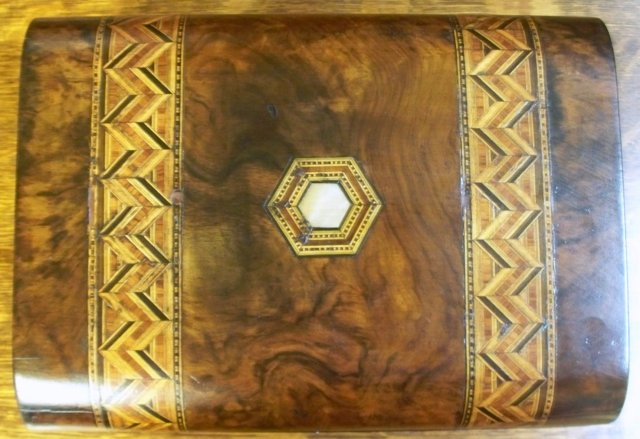 English Burl Walnut Box With Inlaid Tunbridge Ware Banding, 1870
