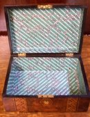 English Burl Walnut Box With Inlaid Tunbridge Ware Banding, 1870