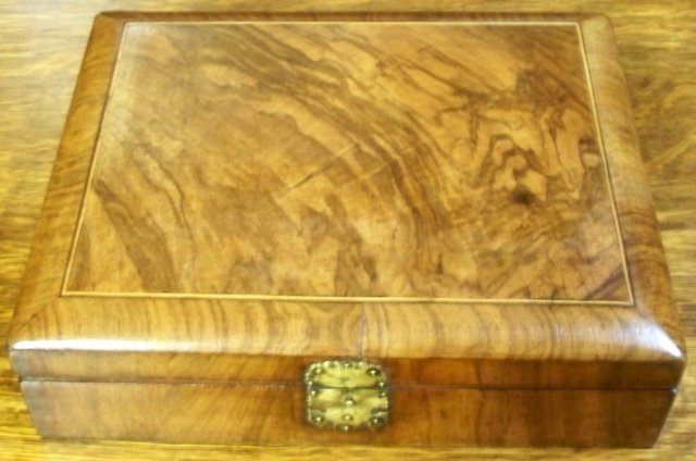 English Antique Figural Walnut Inlaid Box, c1880