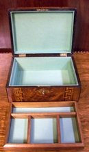 English Antique Burl Walnut Jewelry Box With Tunbridge Ware Inlays, 1860