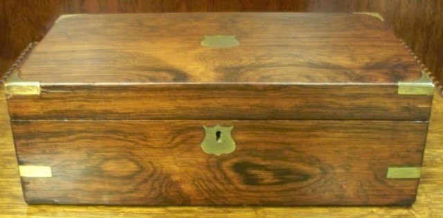 Georgian English Rosewood Writing Box, Leather Writing Slope, & Inkwell, 1830