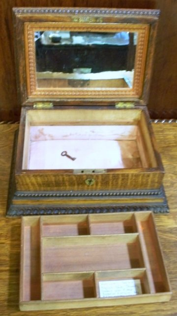 Antique English Carved Oak Jewelry Box, Fitted Tray & Mirror, 1890