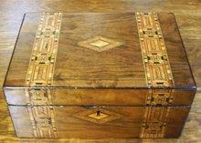 English 19th. Century Mahogany Box With Tunbridge Ware Inlaid Banding, 1870