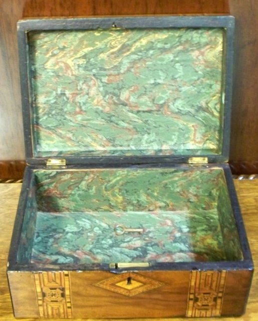 English 19th. Century Mahogany Box With Tunbridge Ware Inlaid Banding, 1870