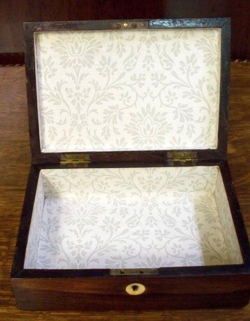 Antique English Rosewood Jewel Box, 1870