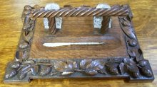Antique Carved Oak Desk Set, Black Forest Germany, Inkwells, Pen, 1860