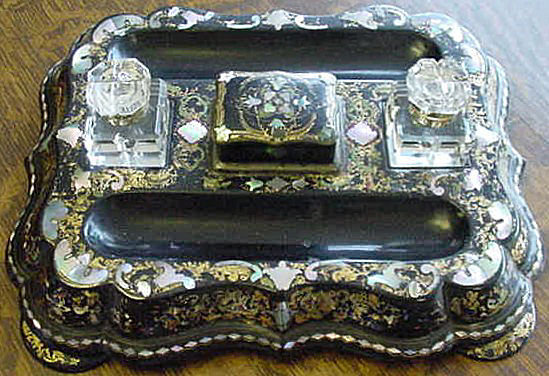 English Victorian Papier Mache Desk Set With Mother Of Pearl, 1860