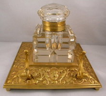 English Antique Square Brass Inkstand With Large Cut Glass Inkwell, Penholder