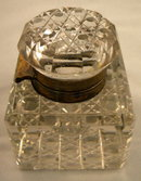 English Antique Large Cut Glass Inkwell, Circa 1880