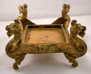 Antique Gilded Inkstand With Winged Griffin Supports & Cut Glass Inkwell