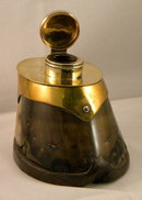 19th Century Horse Hoof Inkwell With Brass Mountings, 1880