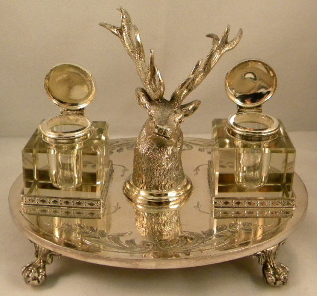 English Silver Plate Inkstand With Stag Head & 2 Cut Glass Inkwells