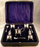 English Sterling Silver Condiment Set In Original Box, 1920