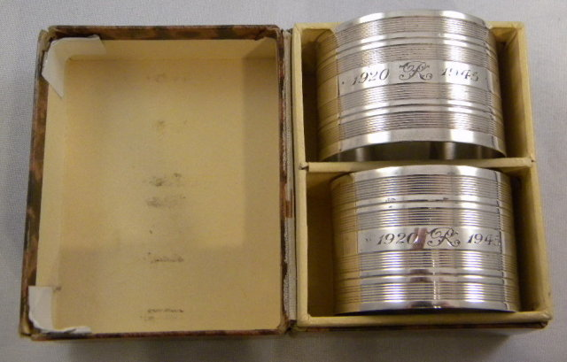 Boxed Pair Sterling Silver Napkin Rings Commemorating Anniversary,1945