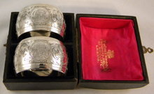 Pr. Silver Art Nouveau Napkin Rings In Original Box, 1899