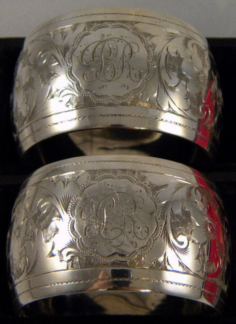 Pr. Silver Art Nouveau Napkin Rings In Original Box, 1899