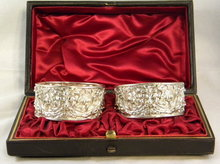 Pr. Silver Art Nouveau Napkin Rings, Elaborately Embossed, In Original Box, 1899