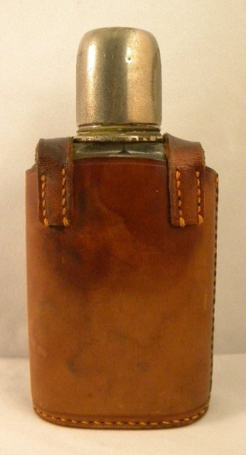 English Edwardian Flask in Leather Case, 1920