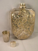 Hand Chased Silver Gilded Flask, circa 1930