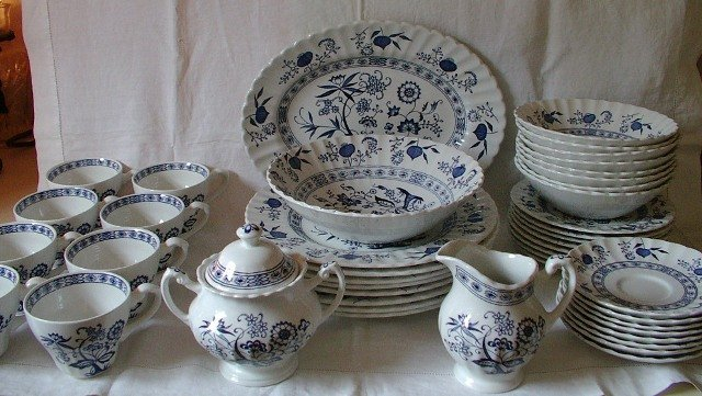 J and G Meakin Blue Nordic Onion Pattern 45 Pieces