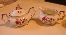 Roses and Violets Creamer and Sugar Bowl with
