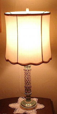 Vintage Lamp Turquoise and White Porcelain