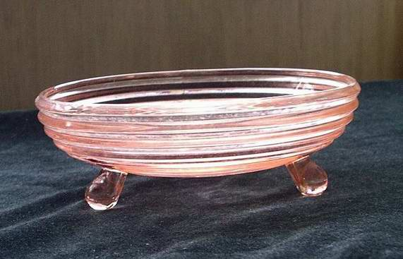 Anchor Hocking Manhattan Pink Triple Footed Open Candy Dish