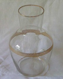 Small Glass Vase Gold Accents and Trim
