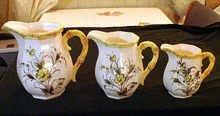 Three Yellow Floral Pitchers Made in Japan
