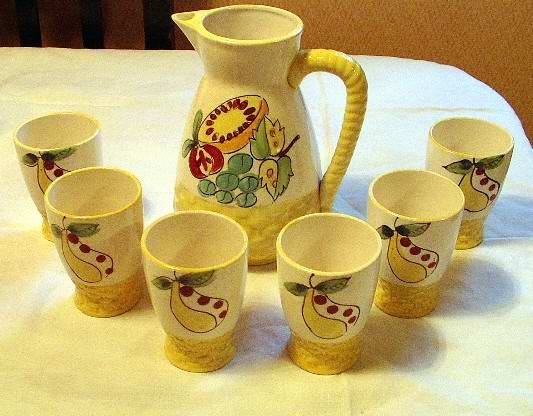Juice Set Pitcher and Six Cups Made in Japan