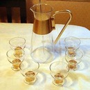 Eight Piece Bar Set Pitcher Six Cups and Stick