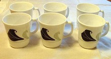 Six Cups by Corning Green and Black Floral