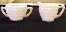 Milk Glass Cream and Sugar Believed Jeanette Cube