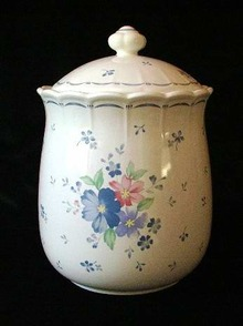 Cookie Jar Japan Blue Floral on White
