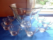 Punch Bowl Set with Cups and Glass Ladle
