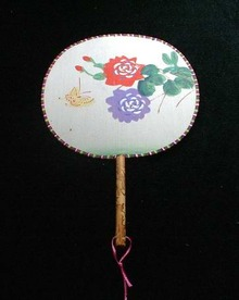 Oriental Silk Fan with Wooden Handle Roses and Butterfly