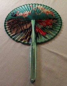 Chinese Folding Fan with Green Aluminum Handle