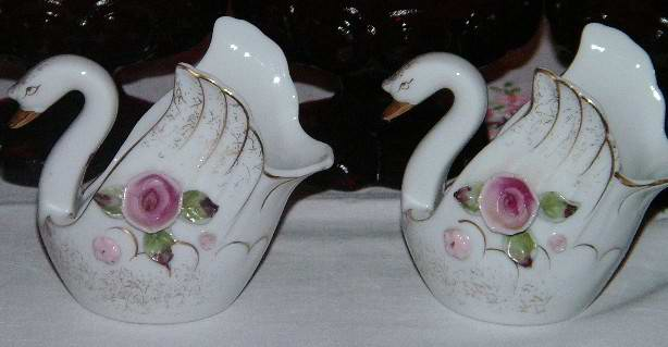 Pair Ucagco Japan Swans Candle Holders