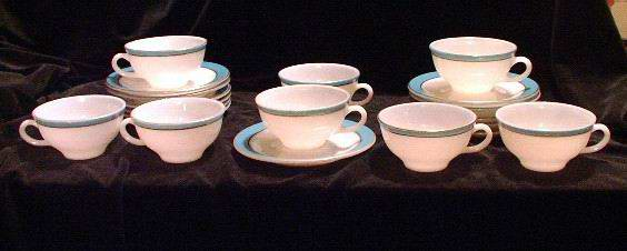 Vintage Pyrex Cups and Saucers Turquoise Band Gold Trim