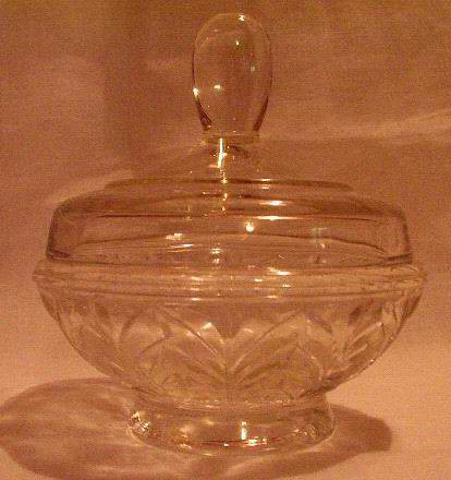Depression Glass Powder Jar with Lid